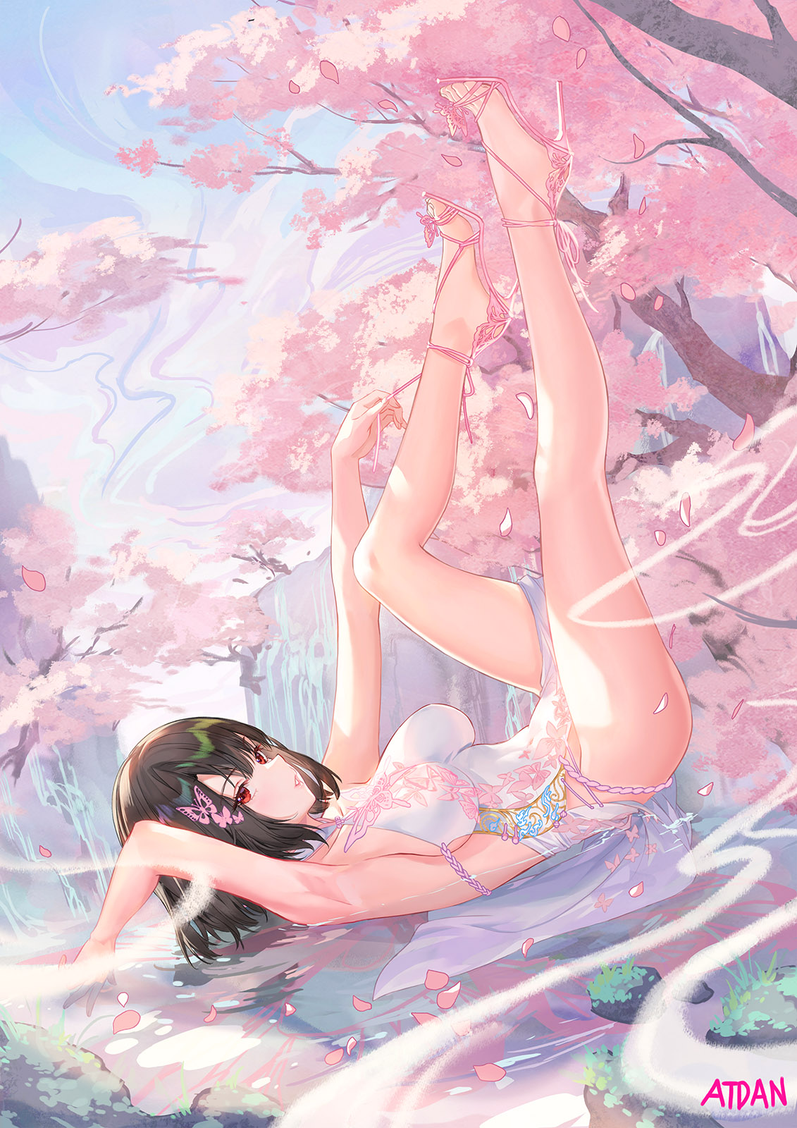 1girl arm_up armpits atdan bare_arms bare_legs bare_shoulders barefoot black_hair breasts cherry_blossoms dress feet hair_ornament highres large_breasts legs_up looking_at_viewer lying no_panties on_back original outdoors parted_lips pelvic_curtain petals pink_theme red_eyes short_hair sleeveless sleeveless_dress solo thighs tree water white_dress