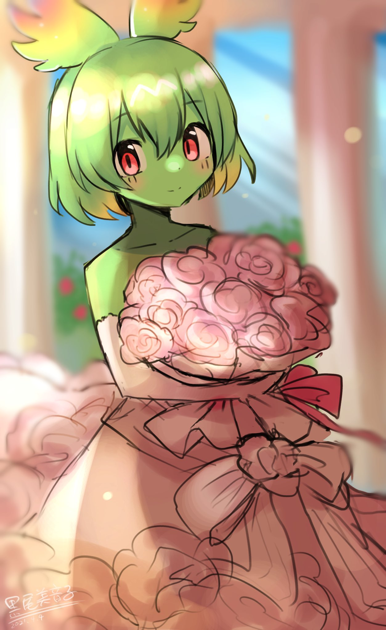 1girl alternate_costume animal_ears bouquet cellval colored_skin dress elbow_gloves eyebrows_visible_through_hair flower gloves green_hair green_skin highres kemono_friends looking_at_viewer mitorizu_02 multicolored_hair pink_dress pink_flower pink_gloves rainbow_hair red_eyes serval_ears serval_girl short_hair solo wedding_dress