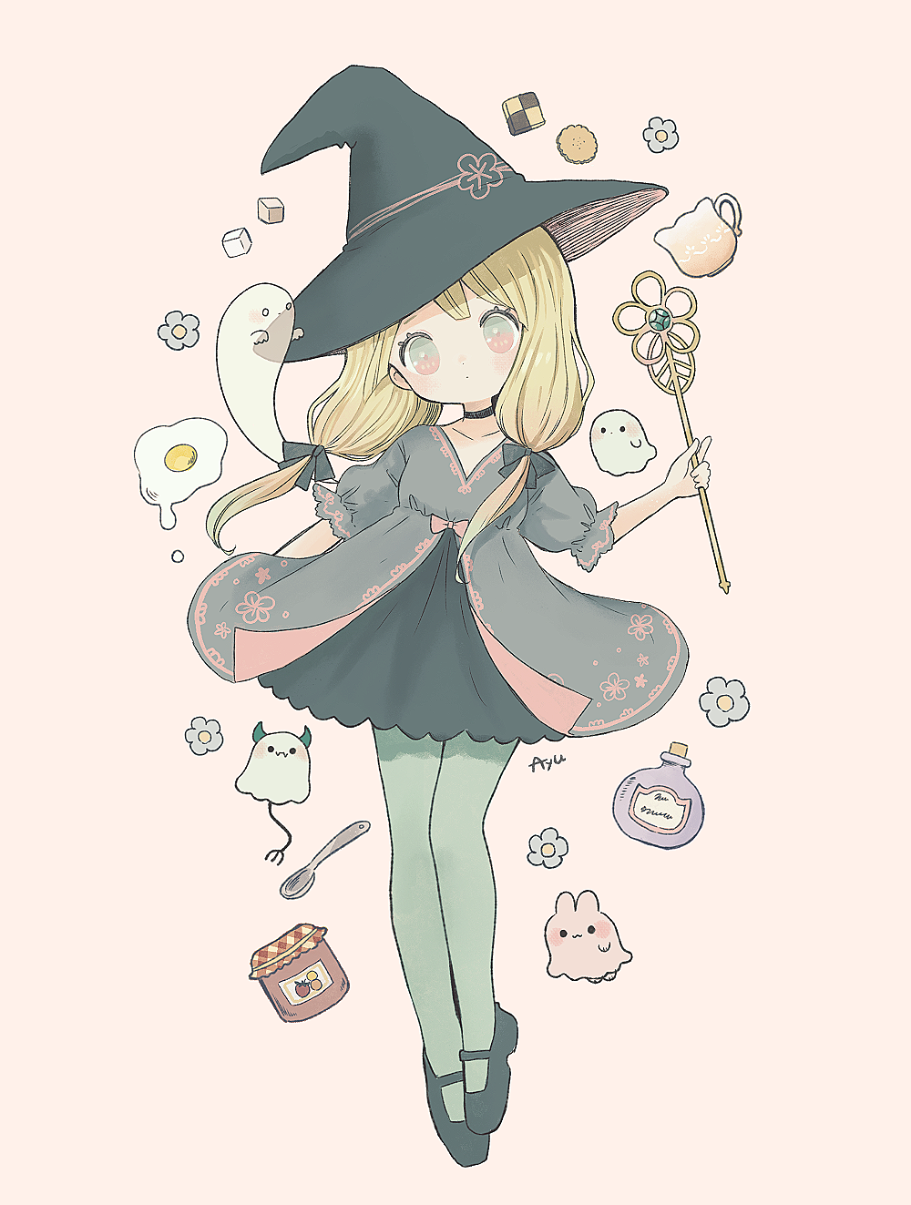 1girl ayu_(mog) black_bow black_dress black_footwear black_headwear blonde_hair blue_flower bow commentary cookie demon_horns demon_tail dress english_commentary flower food fried_egg full_body ghost green_legwear grey_robe hair_bow hat highres holding holding_wand horns jam looking_at_viewer mary_janes original pantyhose potion puffy_short_sleeves puffy_sleeves robe shoes short_sleeves signature simple_background solo spoon sugar_cube tail tan_background twintails wand witch witch_hat
