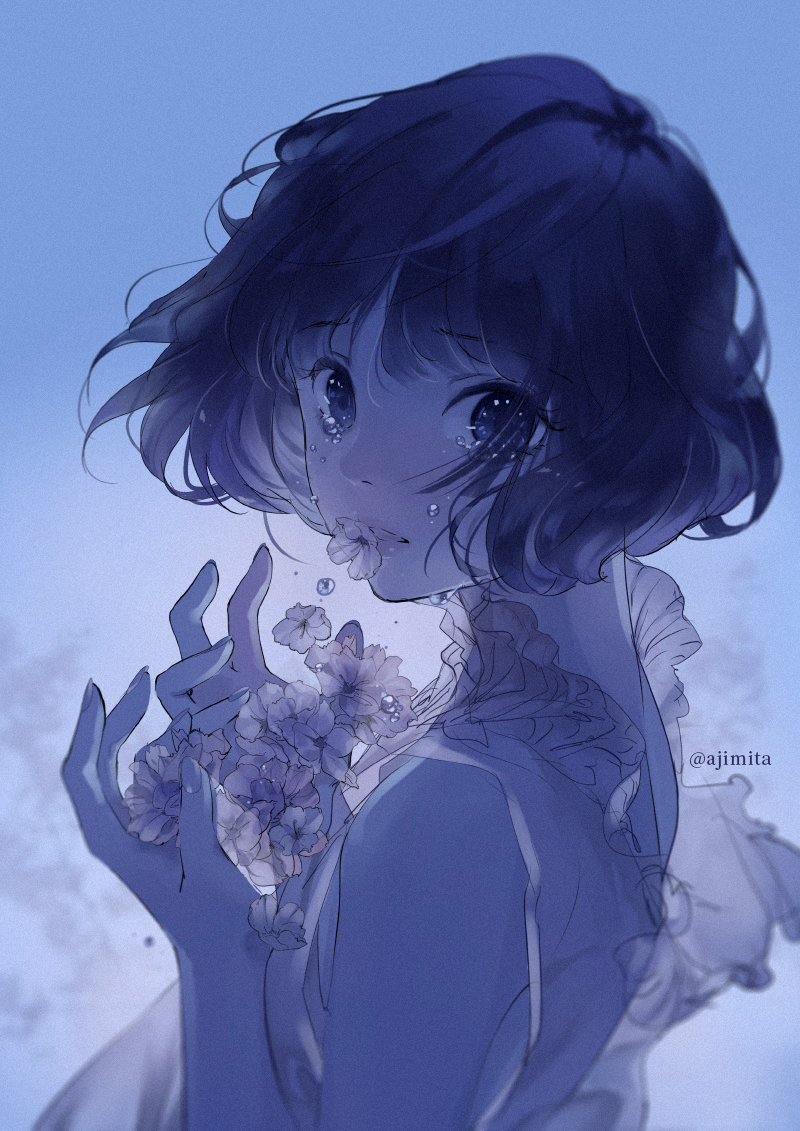 1girl ajimita cherry_blossoms crying crying_with_eyes_open dark dress film_grain hands_up lipstick looking_at_viewer looking_back makeup original petals short_hair sleeveless sleeveless_dress solo tears twitter_username upper_body wavy_hair wind