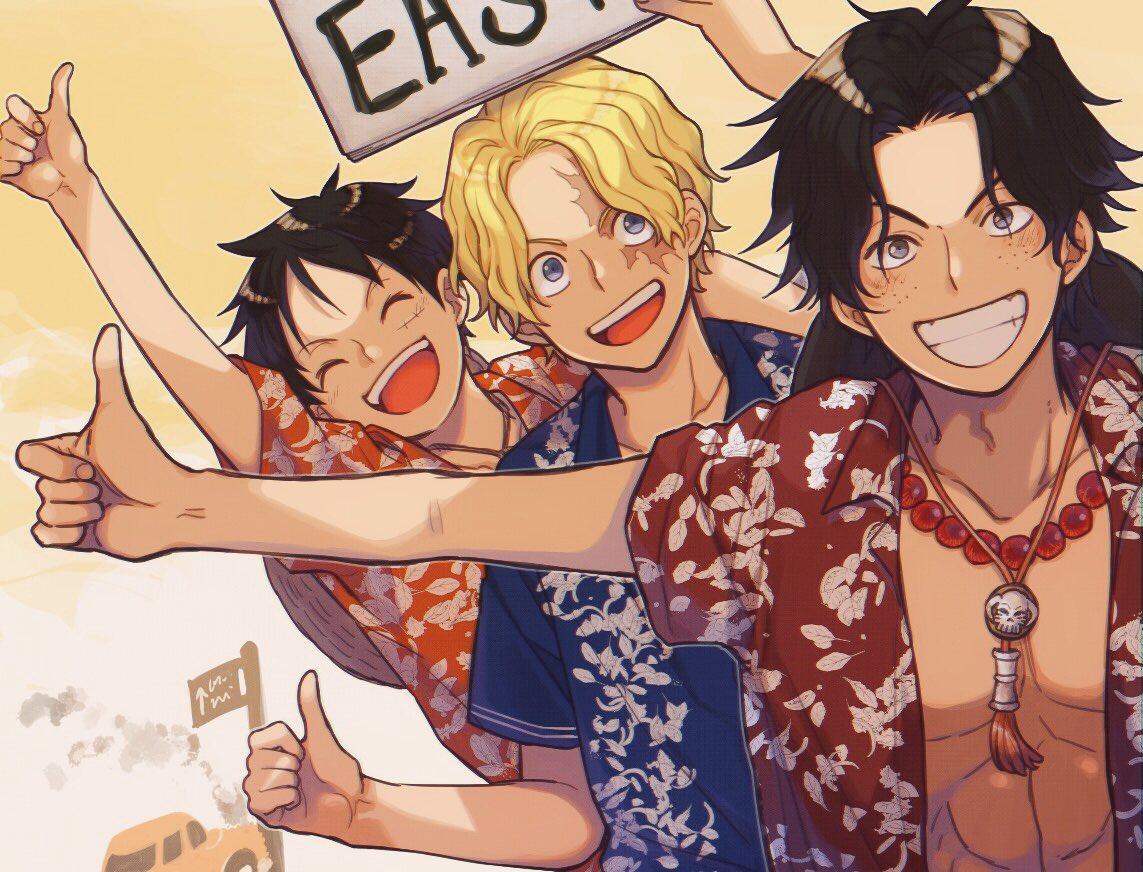 3boys :d abs arm_up bare_pecs bead_necklace beads black_hair blonde_hair blue_eyes car closed_eyes collarbone collared_shirt commentary freckles grey_eyes grin ground_vehicle hat hat_around_neck hawaiian_shirt hitchhiking holding holding_sign jewelry looking_at_viewer male_focus monkey_d_luffy motor_vehicle multiple_boys necklace one_piece open_clothes open_mouth open_shirt orange_shirt outstretched_arm pectorals portgas_d_ace red_shirt road_sign sabo_(one_piece) saran_w_rap scar scar_on_face shiny shiny_hair shirt short_hair short_sleeves sign smile straw_hat symbol_commentary tassel thumbs_up wavy_hair