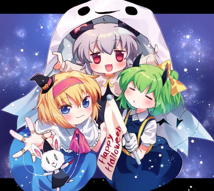 3girls :3 =_= alice_margatroid bangs black_dress black_headwear blonde_hair blouse blue_background blue_dress blue_eyes blush bow capelet closed_mouth collared_blouse commentary_request cookie_(touhou) daiyousei demon_tail demon_wings diyusi_(cookie) dress eyebrows_visible_through_hair flag full_body ghost_costume gloves green_hair grey_hair hair_between_eyes hair_bow hairband halloween happy_halloween hat holding holding_flag horns ichigo_(cookie) letterboxed looking_at_viewer marionette medium_hair multiple_girls nazrin nyon_(cookie) open_mouth pinafore_dress pink_hairband pink_neckwear ponytail pumpkin_hat_ornament puppet rabbit red_eyes short_hair star_(symbol) tail touhou white_blouse white_capelet white_gloves wings witch_hat xox_xxxxxx yellow_bow