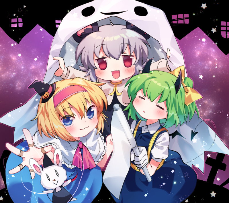 3girls :3 =_= alice_margatroid bangs black_dress black_headwear blonde_hair blouse blue_dress blue_eyes blush bow capelet closed_mouth collared_blouse commentary_request cookie_(touhou) cross daiyousei demon_tail demon_wings diyusi_(cookie) dress eyebrows_visible_through_hair flag full_body ghost_costume gloves green_hair grey_hair hair_between_eyes hair_bow hairband halloween happy_halloween hat holding holding_flag horns house ichigo_(cookie) letterboxed looking_at_viewer marionette medium_hair multiple_girls nazrin nyon_(cookie) open_mouth pinafore_dress pink_hairband pink_neckwear ponytail pumpkin_hat_ornament puppet purple_background rabbit red_eyes short_hair star_(symbol) tail touhou white_blouse white_capelet white_gloves wings witch_hat xox_xxxxxx yellow_bow