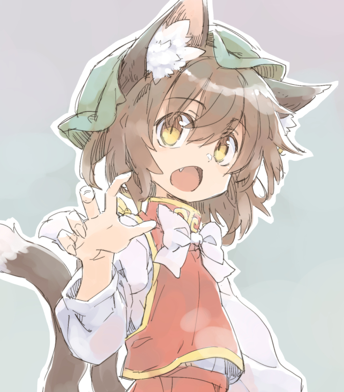 1girl animal_ears bow bowtie brown_hair cat_day cat_ears cat_tail chen chinese_clothes fang green_headwear hat long_sleeves looking_at_viewer mob_cap multiple_tails nekoguruma nekomata open_mouth red_vest shirt short_hair simple_background solo tail touhou upper_body vest white_shirt