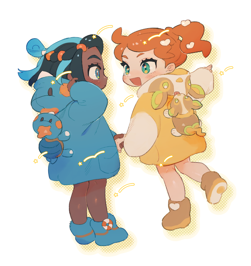 2girls :d black_hair blue_coat blue_eyes blue_footwear blue_hair blush boots character_print chewtle closed_mouth coat dark_skin dark_skinned_female eye_contact eyelashes gen_8_pokemon green_eyes hair_ornament heart heart_hair_ornament holding_hand hood hood_down long_sleeves looking_at_another multicolored_hair multiple_girls mutsuki_(gm_tumu) nessa_(pokemon) open_mouth orange_hair pointing pokemon pokemon_(creature) pokemon_(game) pokemon_on_back pokemon_swsh side_ponytail smile sonia_(pokemon) standing symbol_commentary tied_hair two-tone_hair yamper younger