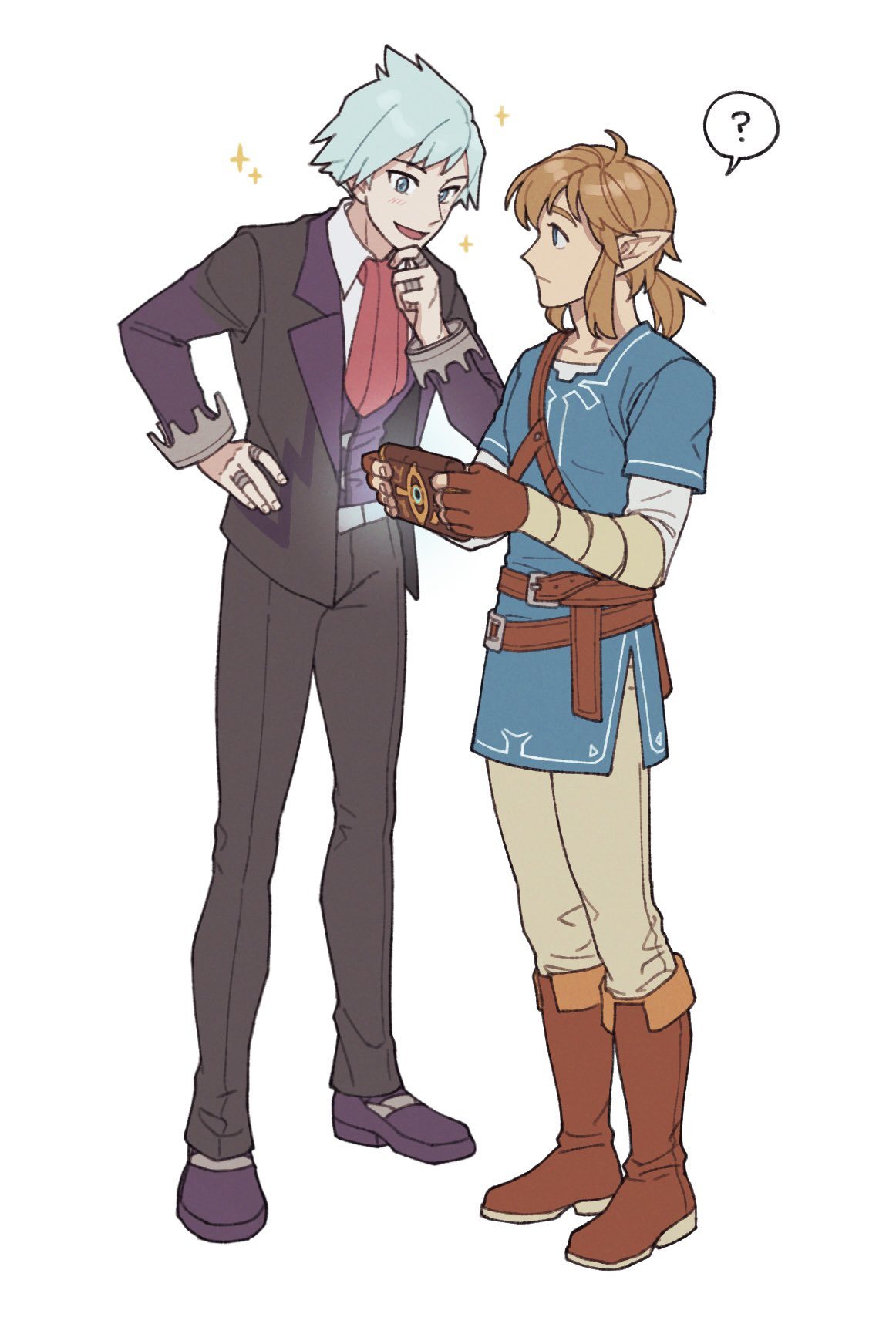 2boys ? bangs belt blue_tunic boots brown_belt brown_footwear brown_gloves brown_hair chatea chin_stroking closed_mouth commentary_request crossover gloves hand_on_hip hand_up highres holding jacket jewelry korean_commentary link male_focus medium_hair multiple_boys open_clothes open_jacket pants pointy_ears pokemon pokemon_(game) pokemon_oras purple_footwear ring shoes short_hair simple_background sparkle spiky_hair spoken_question_mark standing steven_stone the_legend_of_zelda the_legend_of_zelda:_breath_of_the_wild white_background