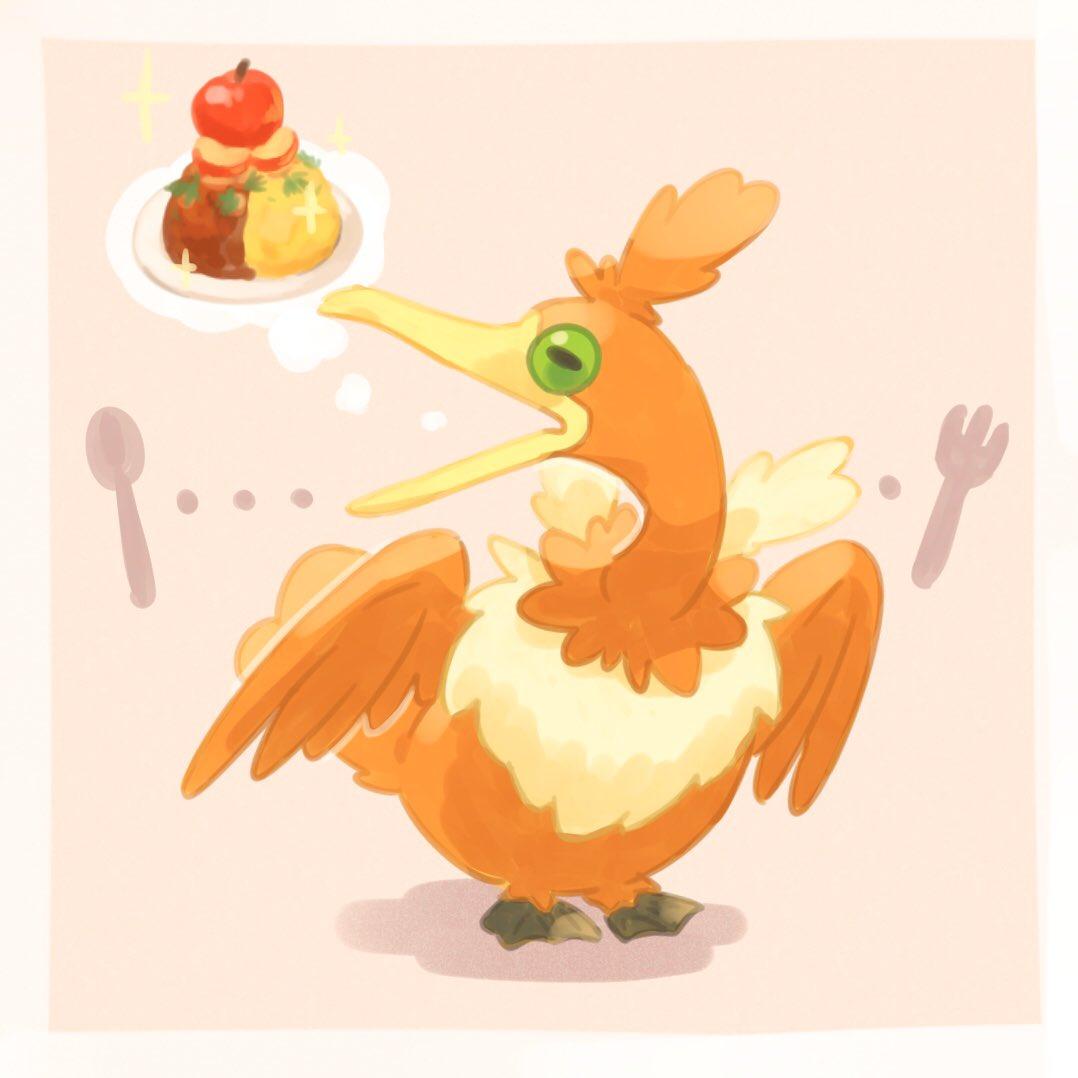 alternate_color apple bird border cramorant curry food fork fruit full_body gen_8_pokemon green_eyes no_humans open_mouth plate pokemon pokemon_(creature) shiny_pokemon solo sparkle spoon standing thought_bubble torinoko_(miiko_draw) white_border