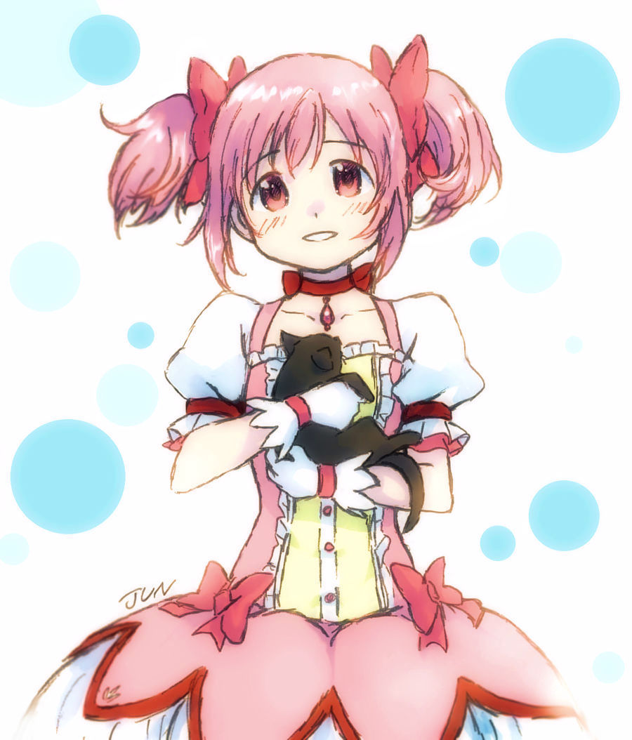 1girl amy_(madoka_magica) animal artist_name bubble_skirt buttons cat choker collarbone dot_nose eyebrows_visible_through_hair flat_chest frills gloves hair_ribbon happy head_tilt holding holding_animal holding_cat jun_(j_u_n0) kaname_madoka light_blush looking_at_viewer mahou_shoujo_madoka_magica parted_lips pink_eyes pink_hair pink_ribbon polka_dot polka_dot_background puffy_short_sleeves puffy_sleeves red_choker red_neckwear red_ribbon ribbon ribbon_choker shiny shiny_hair short_sleeves short_twintails simple_background skirt smile solo soul_gem tareme twintails white_background white_gloves white_skirt