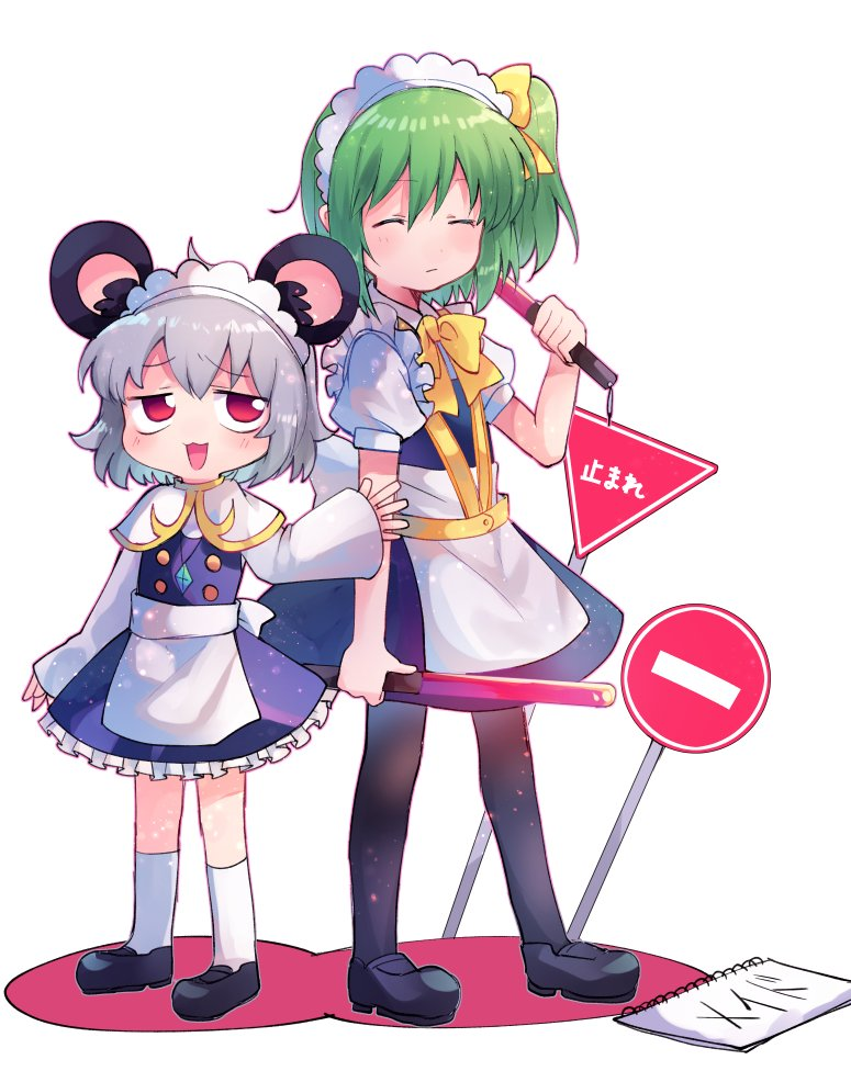 2girls alternate_costume animal_ears bangs black_footwear black_legwear blue_dress blush bow bowtie capelet closed_eyes closed_mouth commentary_request cookie_(touhou) crystal daiyousei diyusi_(cookie) dress enmaided eyebrows_visible_through_hair frilled_dress frills full_body green_hair grey_hair hair_between_eyes hair_bow jewelry long_sleeves looking_to_the_side maid maid_headdress medium_hair mouse_ears multiple_girls nazrin no_entry_sign nyon_(cookie) open_mouth pantyhose pendant puffy_short_sleeves puffy_sleeves red_eyes road_sign shoes short_hair short_sleeves sign socks standing stop_sign touhou traffic_baton white_background white_capelet white_legwear xox_xxxxxx yellow_bow yellow_neckwear