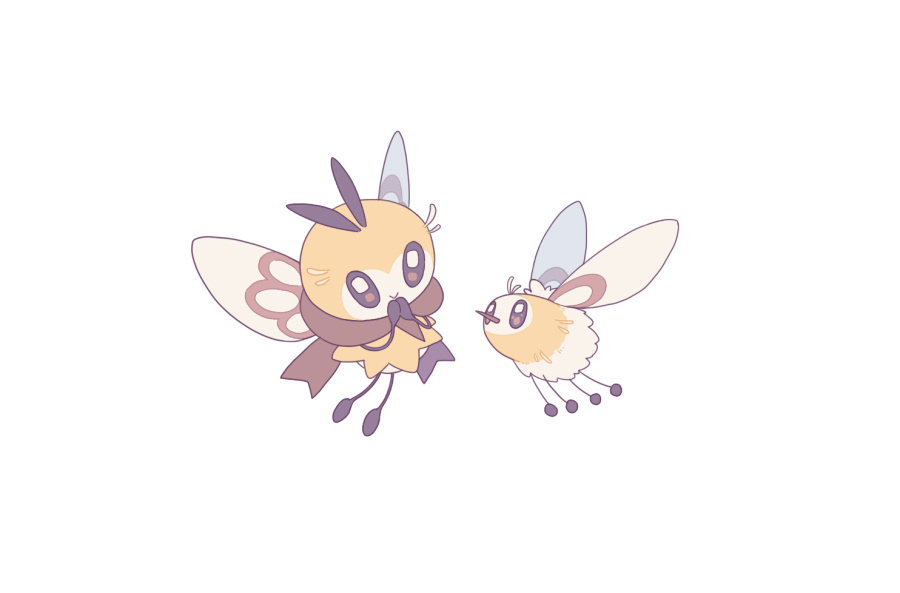 :> brown_eyes brown_scarf closed_mouth cutiefly eye_contact flying gen_7_pokemon looking_at_another no_humans pokemon pokemon_(creature) ribombee scarf shiroimoufu simple_background smile symbol_commentary white_background