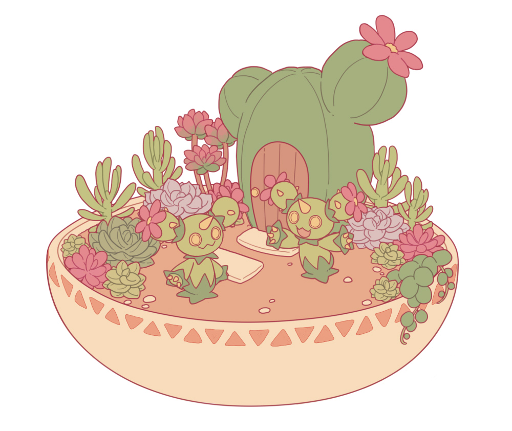 :3 cactus claws closed_mouth commentary_request door eye_contact gen_5_pokemon looking_at_another maractus open_mouth outstretched_arms pokemon pokemon_(creature) shiroimoufu simple_background smile spikes standing white_background wooden_door yellow_eyes