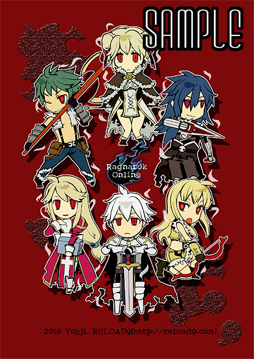 3boys 3girls ahoge armor armored_boots assassin_cross_(ragnarok_online) aura axe bangs belt bio_lab black_cape black_gloves black_pants black_shirt blonde_hair blood blood_splatter blue_hair blue_pants book boots bow_(weapon) breastplate brown_belt brown_capelet brown_dress brown_footwear brown_gloves brown_shirt brown_shorts cape cecil_damon chibi closed_mouth commentary_request copyright_name crop_top cross dagger dated double_bun dress eremes_guile fingerless_gloves full_body fur-trimmed_cape fur-trimmed_gloves fur-trimmed_pants fur-trimmed_shirt fur-trimmed_shorts fur_trim gauntlets gloves green_hair grin hair_between_eyes hair_ribbon high_priest_(ragnarok_online) high_wizard_(ragnarok_online) holding holding_axe holding_book holding_bow_(weapon) holding_dagger holding_staff holding_sword holding_weapon howard_alt-eisen jamadhar juliet_sleeves katheryne_keyron long_hair long_sleeves looking_at_viewer lord_knight_(ragnarok_online) low-tied_long_hair margaretha_solin multiple_boys multiple_girls one_eye_closed open_clothes open_mouth open_shirt pants pauldrons pouch puffy_sleeves ragnarok_online red_background red_cape red_eyes red_ribbon red_scarf reload9_yohji ribbon sample scarf seyren_windsor shirt shoes short_dress short_shorts shorts shoulder_armor skull sleeveless sleeveless_shirt smile sniper_(ragnarok_online) staff suspenders swept_bangs sword tabard thigh-highs torn_cape torn_clothes torn_shirt two-tone_dress two-tone_gloves two-tone_shirt two-tone_shorts waist_cape watermark weapon web_address white_dress white_hair white_legwear white_shirt whitesmith_(ragnarok_online) yellow_gloves yellow_shirt yellow_shorts