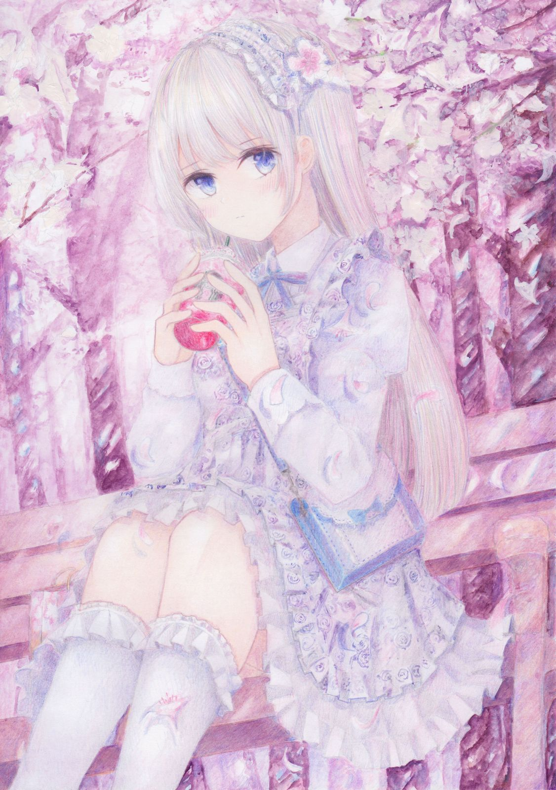 1girl apron bag bench blue_eyes blush cherry_blossoms colored_pencil_(medium) cup darkkanan disposable_cup dress drinking eyebrows_visible_through_hair forest frilled_apron frilled_dress frills hairband highres kneehighs legs lolita_fashion lolita_hairband long_hair looking_at_viewer nature original outdoors pinafore_dress pink_background shoulder_bag sidelocks sitting solo traditional_media watercolor_(medium) white_dress white_hair white_legwear
