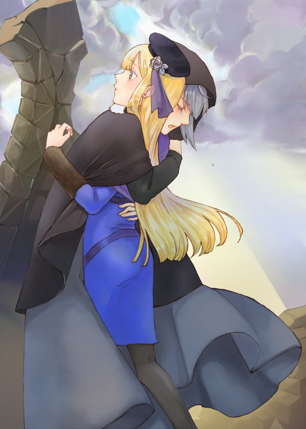 2girls ass bangs black_cape black_headwear black_legwear blonde_hair blue_jacket blush cape commentary_request day dress fate_(series) feet_out_of_frame flower from_side fur_trim gray_(fate) green_eyes grey_dress grey_hair hat hat_flower highres hug jacket long_hair long_sleeves looking_up lord_el-melloi_ii_case_files multiple_girls open_mouth outdoors pantyhose reines_el-melloi_archisorte satou_usuzuku short_hair tearing_up tilted_headwear