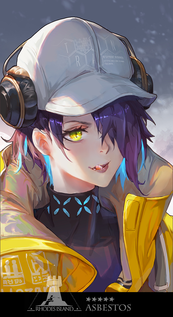 1girl arknights artist_name asbestos_(arknights) blue_hair clothing_request commentary commentary_request english_text hat headphones licking licking_lips light_blue_hair looking_away multicolored_hair open_mouth purple_hair rhodes_island_logo short_hair simple_background solo star_(symbol) tongue tongue_out train_hb yellow_eyes