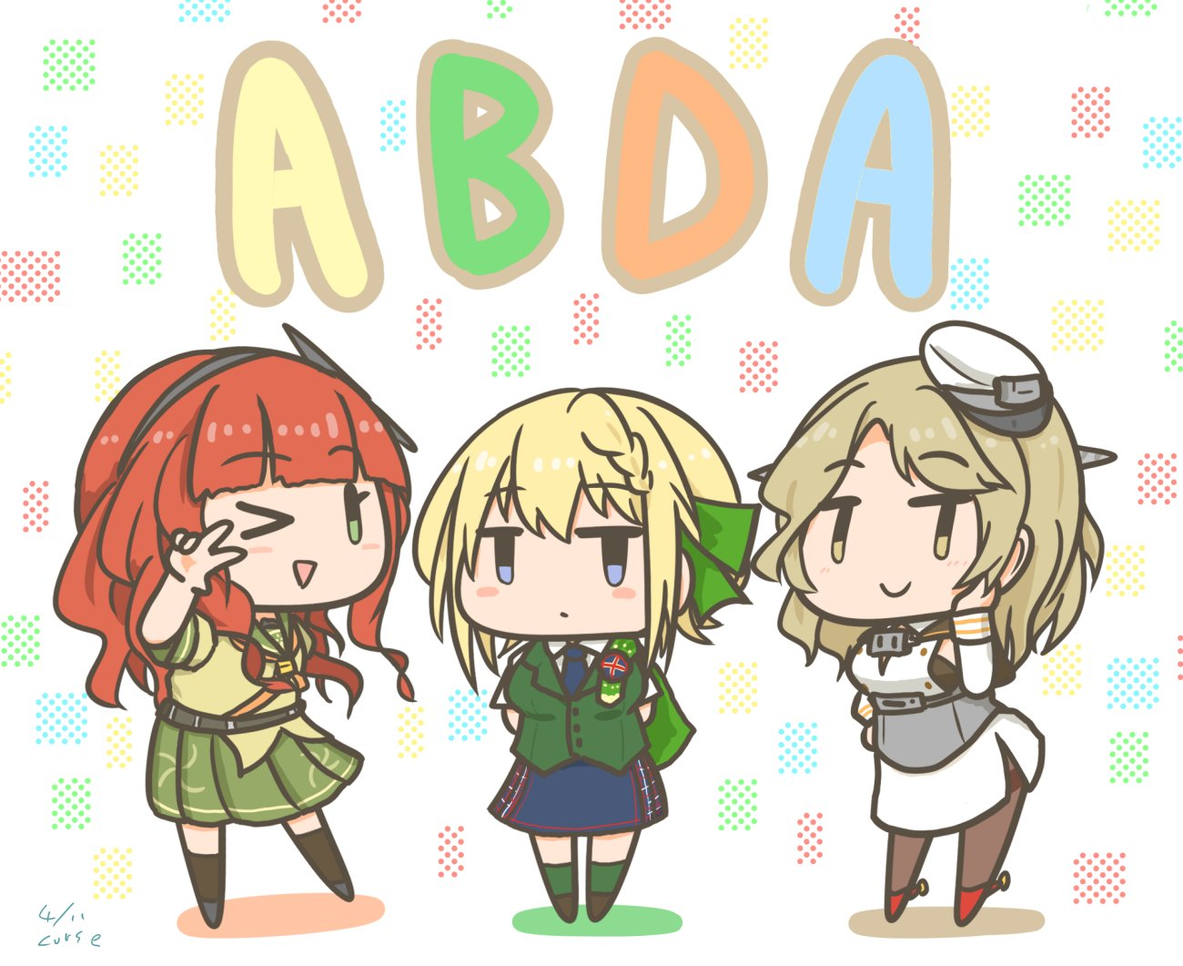 3girls arms_behind_back bangs black_legwear blonde_hair braid braided_bangs breasts chibi cloak curse_(023) dated de_ruyter_(kancolle) eyebrows_visible_through_hair green_legwear green_vest hair_ribbon hairband hat headgear houston_(kancolle) kantai_collection light_brown_hair long_hair multiple_girls necktie open_mouth pantyhose perth_(kancolle) plaid plaid_skirt pleated_skirt redhead ribbon sailor_collar shirt short_sleeves signature simple_background skirt smile thigh-highs v vest white_shirt