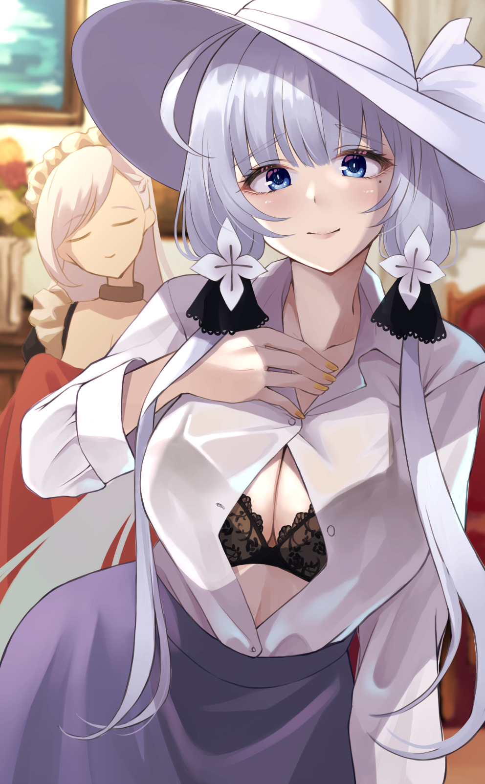 2girls alternate_costume azur_lane bangs belfast_(azur_lane) black_bra blue_eyes blue_skirt blurry blush bra breasts closed_eyes closed_mouth collarbone collared_shirt depth_of_field eyebrows_visible_through_hair hand_on_own_chest hat highres illustrious_(azur_lane) large_breasts long_hair long_sleeves looking_at_viewer mole mole_under_eye multiple_girls nail_polish shirt shirt_tucked_in silver_hair skirt solo_focus sun_hat underwear wee_(weeyy) white_headwear white_shirt yellow_nails