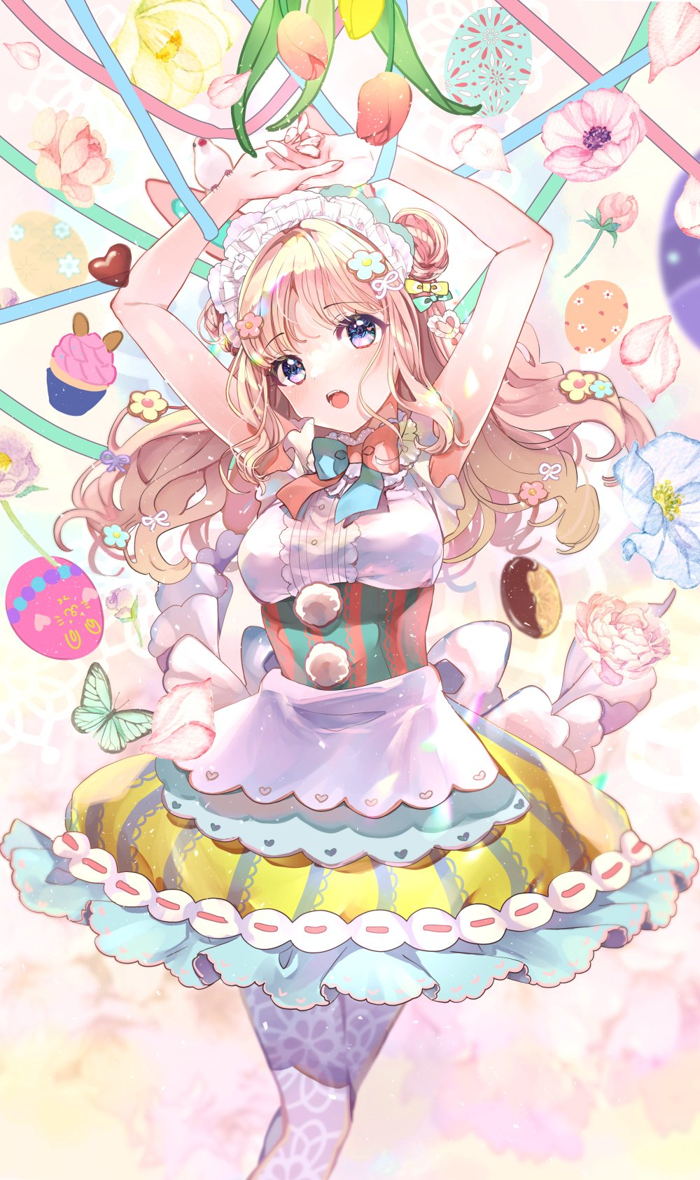 1girl animal animal_ears apron arms_up blue_flower blue_ribbon blush breasts brown_hair bug butterfly candy chocolate chocolate_heart clothing_cutout commentary_request cupcake double_bun easter easter_egg egg floating_hair flower food green_ribbon hands_together heart heart_cutout highres insect long_hair maid_headdress medium_breasts nail_polish open_mouth original own_hands_together pantyhose petals pink_flower pink_nails puracotte purple_legwear rabbit_ears red_flower ribbon shirt skirt sleeveless sleeveless_shirt solo striped tulip vertical-striped_skirt vertical_stripes waist_apron white_apron white_shirt yellow_skirt