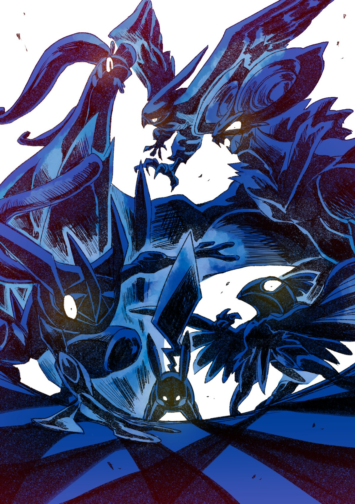 bird commentary_request fangs from_below gen_1_pokemon gen_6_pokemon glowing glowing_eyes goodra greninja harvest88 hawlucha highres legs_apart no_humans noivern open_mouth pikachu pokemon pokemon_(creature) standing talonflame
