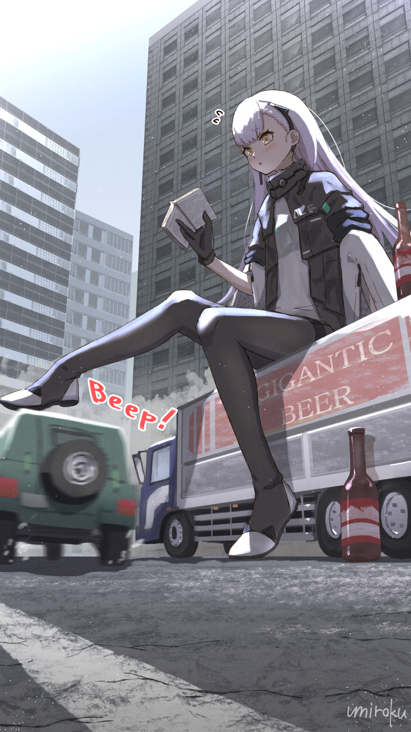1girl :o ak-alfa_(girls_frontline) bangs beer_bottle black_footwear black_gloves black_jacket black_legwear blush book boots brown_eyes building car commentary_request day eyebrows_visible_through_hair flying_sweatdrops giant giantess girls_frontline gloves ground_vehicle highres holding holding_book jacket long_hair long_sleeves motor_vehicle open_book outdoors parted_lips purple_hair shirt short_over_long_sleeves short_sleeves sitting solo thigh-highs thigh_boots truck umiroku very_long_hair white_shirt wide_sleeves