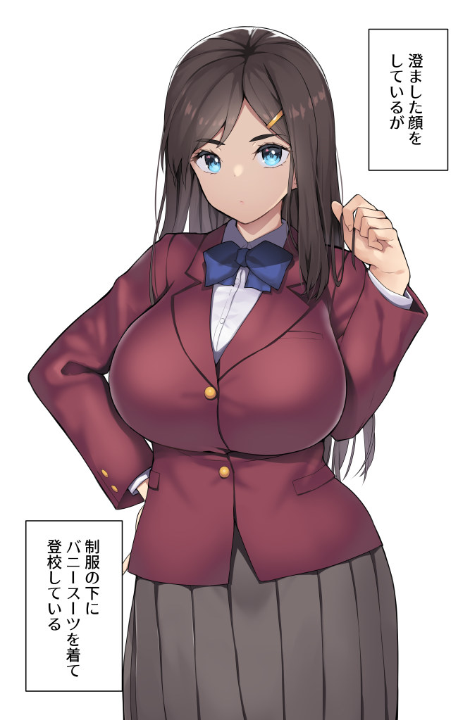 1girl :o black_skirt blazer blue_bow blue_eyes bow breasts brown_hair buttons character_request collared_shirt copyright_request eyebrows_visible_through_hair hair_ornament hairclip hand_on_hip holding holding_hair huge_breasts jacket long_hair long_skirt long_sleeves looking_at_viewer nagase_haruhito open_mouth plaid plaid_skirt pleated_skirt red_jacket school_uniform shirt simple_background skirt solo translation_request white_background white_shirt