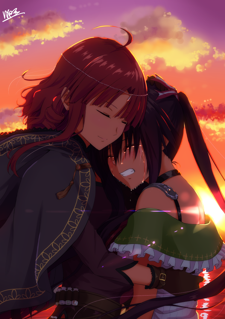 2girls ahoge black_cape black_hair black_shirt brown_gloves brown_hair cape clenched_teeth closed_eyes crying dusk ebisuzawa_kurumi floating_hair from_side gakkou_gurashi! gloves hair_ribbon hinata_tino hug kirara_fantasia long_hair multiple_girls off-shoulder_shirt off_shoulder outdoors ribbon sakura_megumi shirt sidelocks teacher_and_student tears teeth twintails upper_body very_long_hair white_shirt