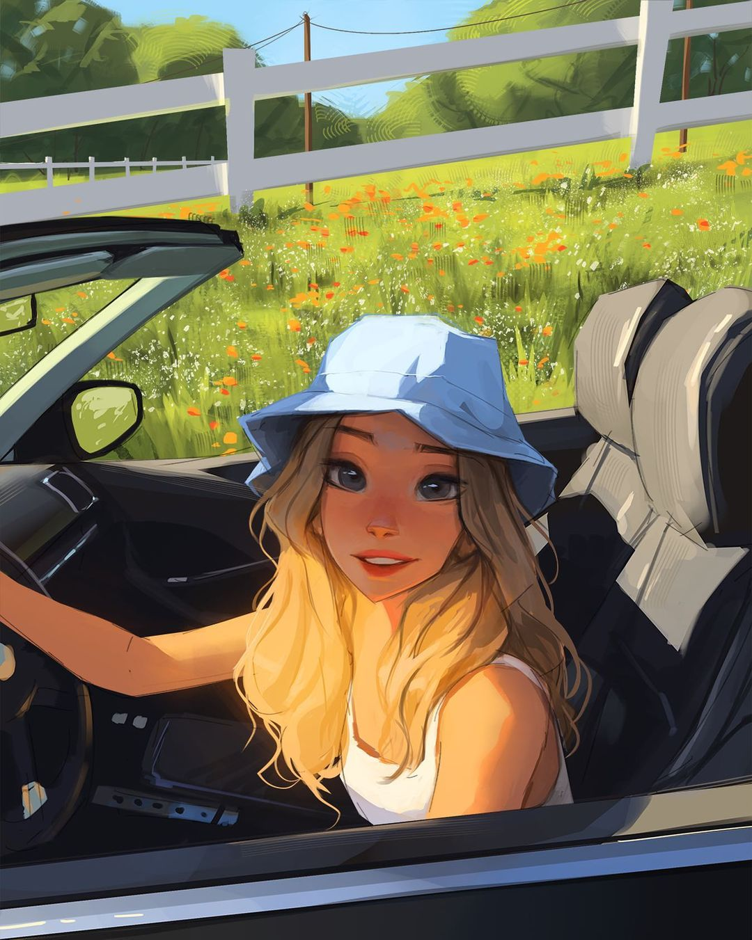 1girl blonde_hair blue_eyes blue_headwear camisole car commentary completion_time day driving english_commentary field flower flower_field ground_vehicle hat highres lips long_hair looking_at_viewer mismatched_eyebrows motor_vehicle original parted_lips sam_yang_(samdoesarts) solo thick_eyebrows upper_teeth
