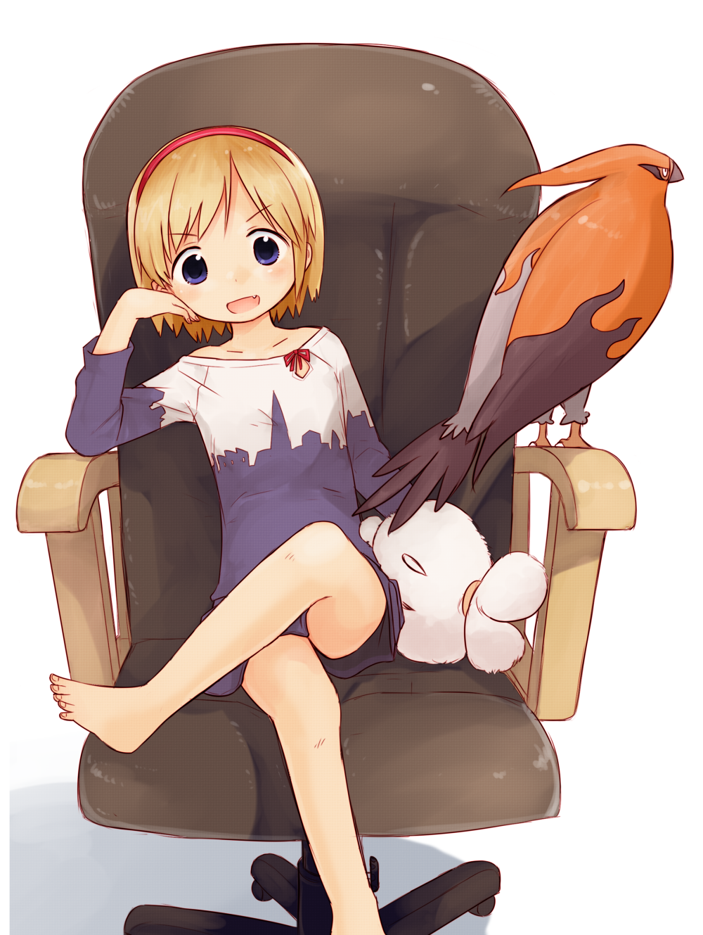 1girl alice_margatroid alternate_costume bangs barefoot bird blonde_hair blue_shirt blue_shorts blush chair commentary_request cookie_(touhou) crossed_legs eyebrows_visible_through_hair fang foot_out_of_frame gen_6_pokemon hairband head_rest highres looking_at_viewer miyako_(naotsugu) office_chair open_mouth pokemon red_hairband shirt short_hair shorts simple_background sitting stuffed_animal stuffed_bunny stuffed_toy taisa_(cookie) talonflame touhou white_background