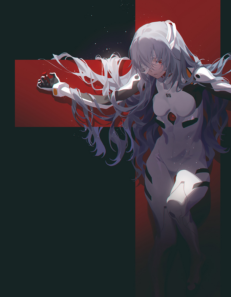 1girl alternate_hair_length alternate_hairstyle ayanami_rei bandage_over_one_eye bangs black_background blue_hair bodysuit cross crucifixion evangelion:_3.0+1.0_thrice_upon_a_time fajyobore hair_over_one_eye long_hair neon_genesis_evangelion parted_lips plugsuit rebuild_of_evangelion red_eyes simple_background solo thigh_gap very_long_hair white_bodysuit