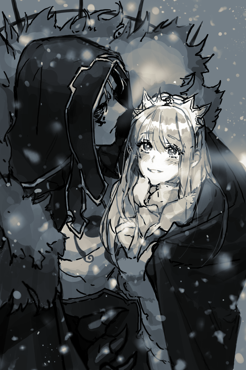 1boy 1girl bangs blush bodypaint cape couple cu_chulainn_(fate)_(all) cu_chulainn_alter_(fate/grand_order) eye_contact eyebrows_visible_through_hair facepaint fate/grand_order fate_(series) fur-trimmed_hood fur_trim g0ringo highres hood hood_up korean_commentary long_hair looking_at_another looking_up medb_(fate) medb_(fate)_(all) monochrome shirtless sketch smile snow tiara