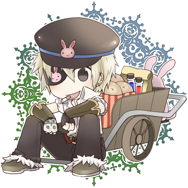 1boy animal_print bag bangs blacksmith_(ragnarok_online) blonde_hair bread brown_eyes brown_footwear brown_gloves brown_headwear brown_pants bunny_print cart chibi cigarette commentary_request earrings eyepatch fingerless_gloves flat_cap food full_body fur-trimmed_pants gloves hat jewelry looking_at_viewer male_focus negi_mugiya open_mouth pants ragnarok_online shirt shoes short_sleeves sitting solo unbuttoned unbuttoned_shirt vial white_background white_shirt