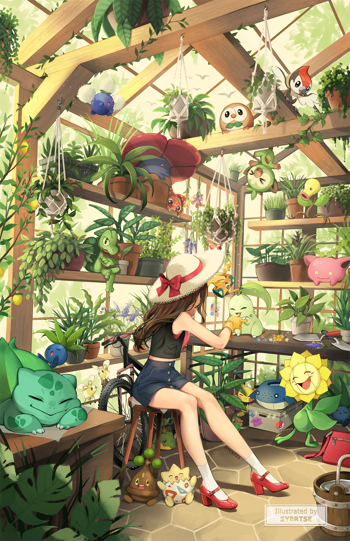 1girl bellsprout bird bonsly brown_gloves brown_hair bucket bulbasaur caterpie cutiefly ditto flower gen_1_pokemon gen_2_pokemon gen_3_pokemon gen_4_pokemon gen_7_pokemon gen_8_pokemon gloves greenhouse grookey hat high-waist_shorts high_heels highres hoppip jumpluff oddish paras pichu pikipek plant pokemon pokemon_(creature) potted_plant red_footwear rowlet shoebox short_shorts shorts sitting sleeveless smile sticker stool straw_hat sunflora syertse togepi treecko turtwig vest vileplume wailmer water watering_can