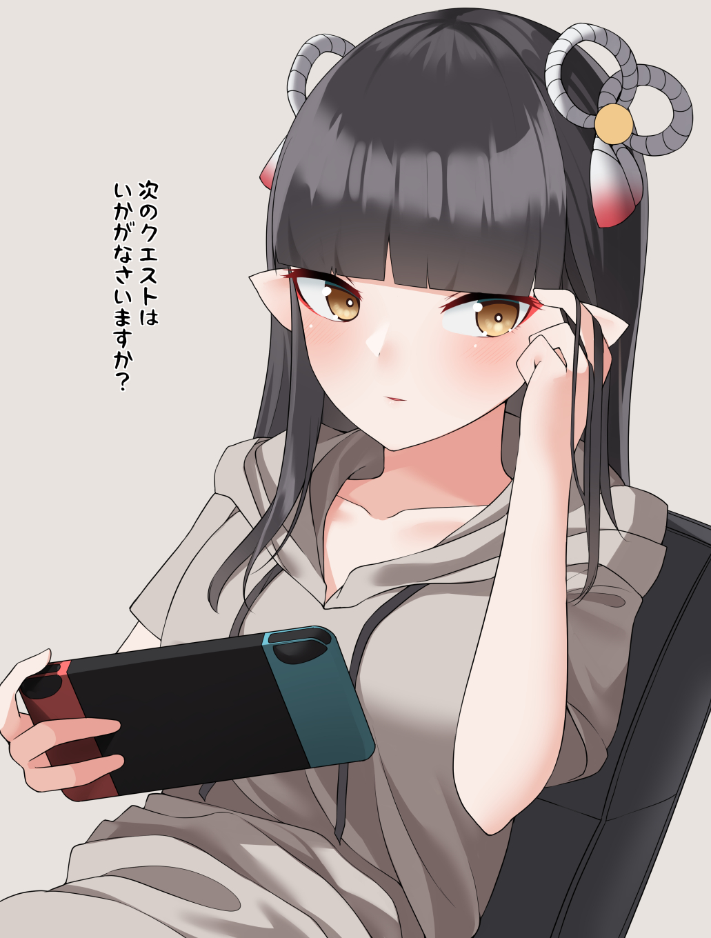 1girl bangs black_hair blunt_bangs blush controller eyebrows_visible_through_hair fewer_digits game_console game_controller hair_ornament handheld_game_console highres holding holding_handheld_game_console joy-con long_hair looking_at_viewer menbou_(menbow3v) minoto monster_hunter_(series) monster_hunter_rise nintendo nintendo_switch playing_games pointy_ears solo sweater yellow_eyes