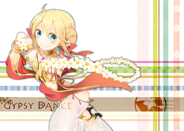 1girl artist_name bangs bikini black_footwear blonde_hair blush closed_mouth commentary_request cover cover_page cowlick detached_sleeves double_bun doujin_cover flower foot_out_of_frame gem green_eyes gypsy_(ragnarok_online) hair_between_eyes jewelry looking_at_viewer necklace negi_mugiya pants ragnarok_online red_sleeves sandals see-through sequins short_hair smile solo strapless strapless_bikini swimsuit white_flower white_pants yellow_bikini