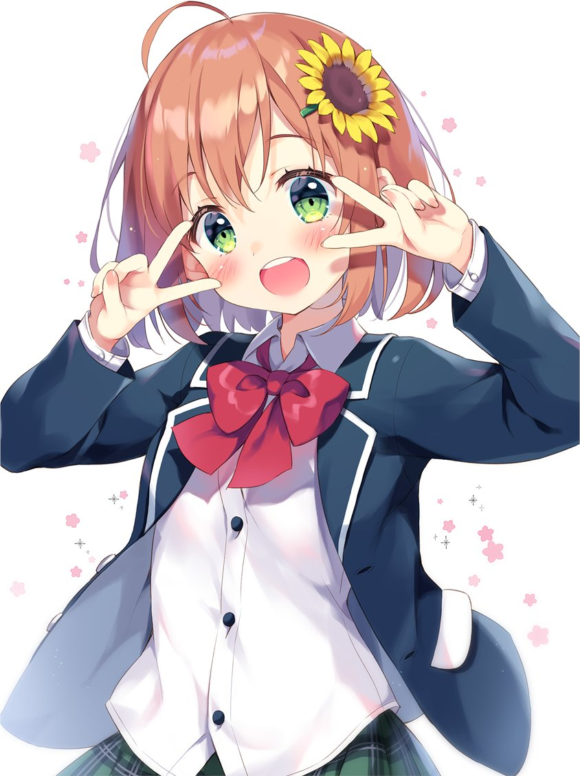 1girl :d ahoge bangs blue_jacket blush bow brown_hair collared_shirt commentary_request double_v dress_shirt eyebrows_visible_through_hair flower green_eyes green_skirt hair_between_eyes hair_flower hair_ornament hairclip honma_himawari jacket long_sleeves looking_at_viewer nijisanji open_clothes open_jacket open_mouth pan_(mimi) plaid plaid_skirt pleated_skirt red_bow round_teeth shirt simple_background skirt smile solo sunflower sunflower_hair_ornament teeth upper_teeth v v_over_eye virtual_youtuber white_background white_shirt yellow_flower