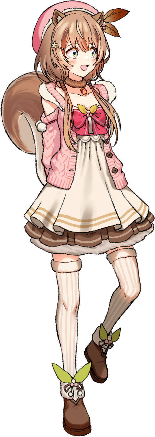 1girl :d animal_ears arms_behind_back artpatient ayunda_risu beret blush boots brown_footwear brown_hair cable_knit clothing_cutout dress full_body fur-trimmed_boots fur-trimmed_legwear fur_choker fur_trim green_eyes hat highres hololive hololive_indonesia layered_dress leg_up looking_away open_mouth pink_sweater short_dress short_hair shoulder_cutout simple_background smile solo squirrel_ears squirrel_girl squirrel_tail sweater tail thigh-highs virtual_youtuber white_background white_dress white_legwear