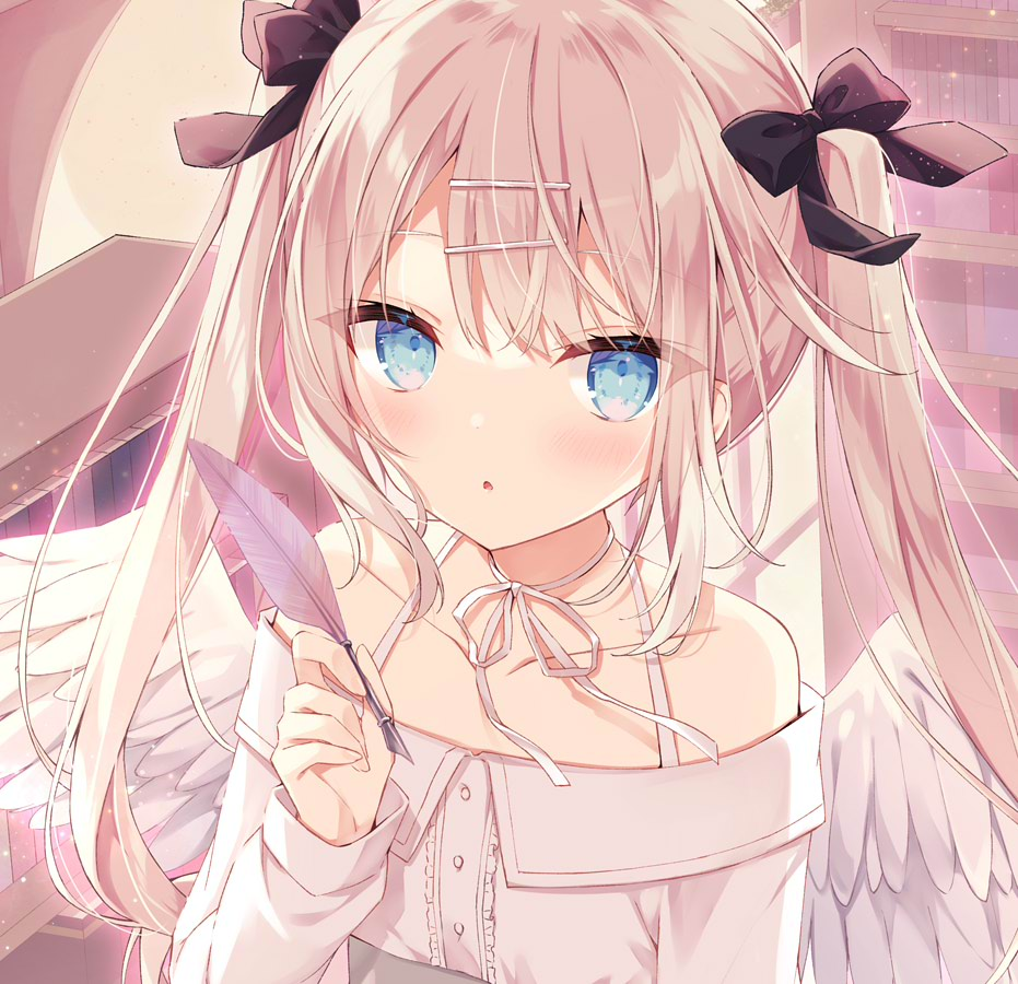 1girl :o bangs bare_shoulders black_bow blue_eyes blush bow brown_hair collarbone commentary_request eyebrows_visible_through_hair feathered_wings hair_between_eyes hair_bow hair_ornament hairclip hand_up holding hoshi_(snacherubi) indoors long_hair long_sleeves looking_at_viewer off-shoulder_shirt off_shoulder original parted_lips quill shirt sleeves_past_wrists solo twintails upper_body very_long_hair white_shirt white_wings wings