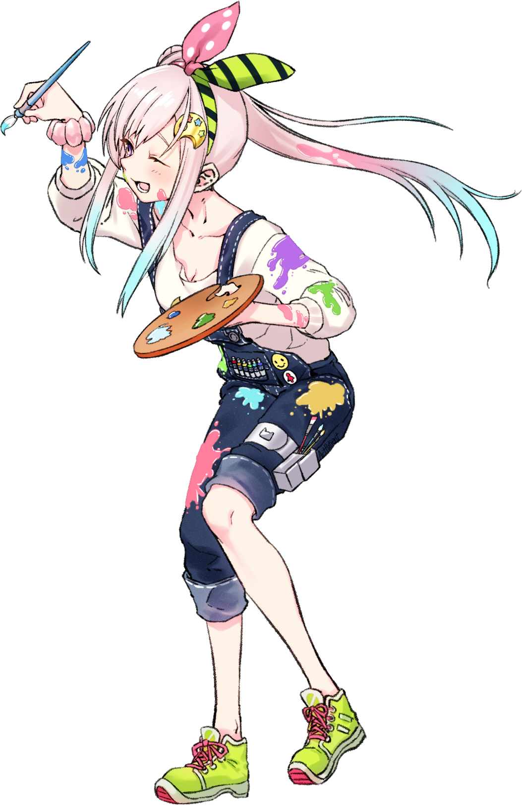 1girl ;d airani_iofifteen art_brush artpatient bangs blue_hair bow_hairband denim full_body gradient_hair hairband highres holding holding_paintbrush hololive hololive_indonesia long_hair long_sleeves looking_away multicolored_hair one_eye_closed open_mouth overalls paint_on_clothes paint_on_face paint_splatter paintbrush palette palette_hair_ornament pants pants_rolled_up pink_hair shirt shoes side_ponytail simple_background smile sneakers solo swept_bangs virtual_youtuber white_background white_shirt yellow_footwear