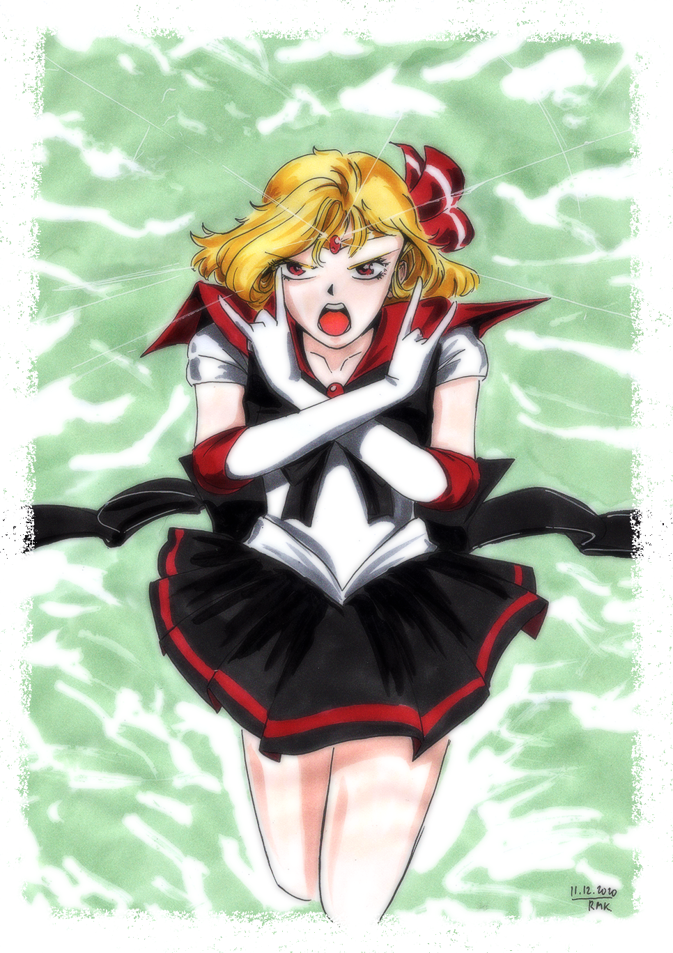 1girl angry black_skirt blonde_hair bow brooch circlet crossed_arms elbow_gloves gloves greyscale hair_bow hair_ribbon highres jewelry leotard looking_at_viewer monochrome open_mouth pleated_skirt red_eyes ribbon rumia rumiak sailor_collar sailor_moon sailor_senshi_uniform short_hair skirt touhou traditional_media white_gloves white_leotard