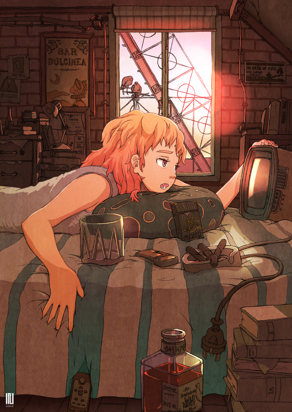 1girl ashtray bed book book_stack bottle cable cigarette_butt controller grey_shirt highres indoors inukoko lamp lying medium_hair on_stomach open_mouth orange_hair original profile red_eyes remote_control shirt sleeveless sleeveless_shirt solo television window
