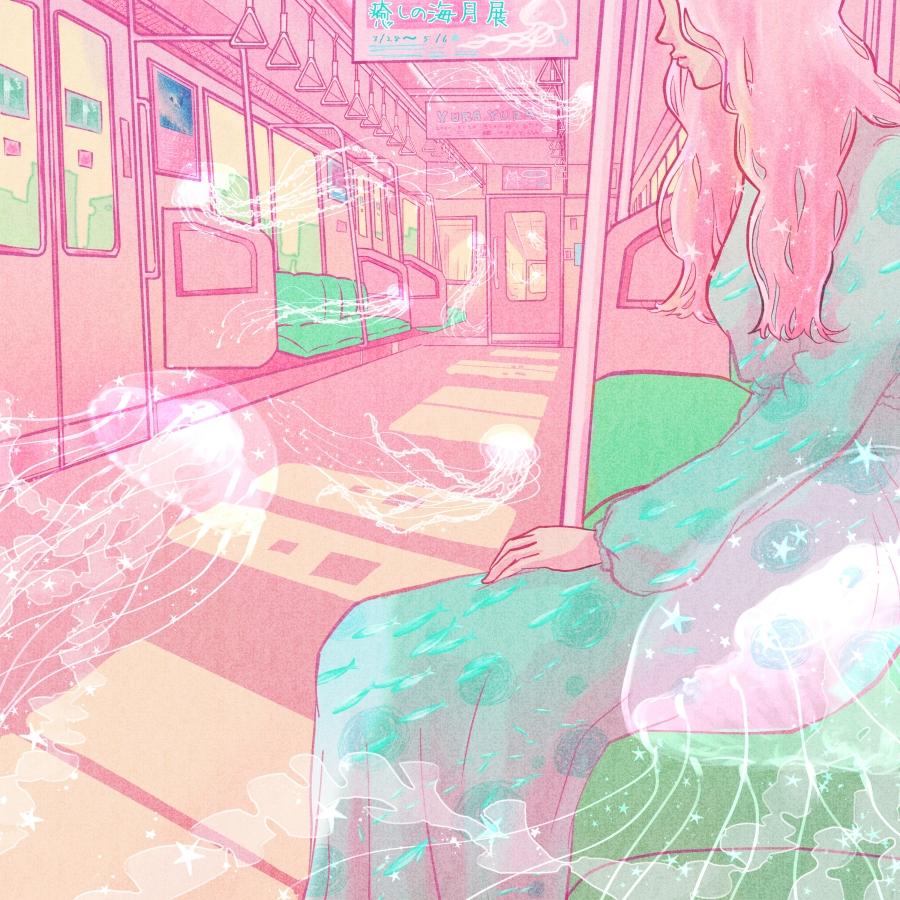 1girl aqua_dress door dress jellyfish long_hair long_sleeves original pink_hair pink_theme profanity sitting solo surreal train_interior wacca005