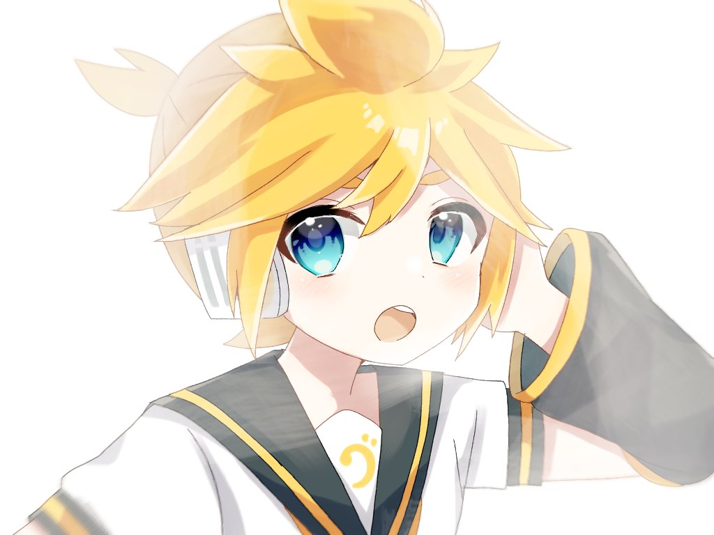 1boy :o akikan_sabago arm_warmers bass_clef black_collar black_sleeves blonde_hair bloom blue_eyes collar commentary hand_on_headphones hand_up kagamine_len looking_at_viewer male_focus open_mouth portrait sailor_collar shirt short_ponytail short_sleeves solo spiky_hair vocaloid white_background white_shirt