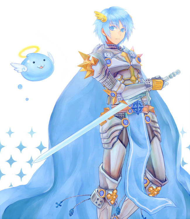 1boy angel_wings archangeling armor armored_boots bangs blue_cape blue_eyes blue_hair boots breastplate cape closed_mouth commentary_request eyebrows_visible_through_hair feet_out_of_frame hair_between_eyes halo holding holding_sword holding_weapon leg_armor looking_to_the_side misuguu pauldrons ragnarok_online rune_knight_(ragnarok_online) short_hair shoulder_armor slime_(creature) sparkle spiked_pauldrons sword weapon white_background wings