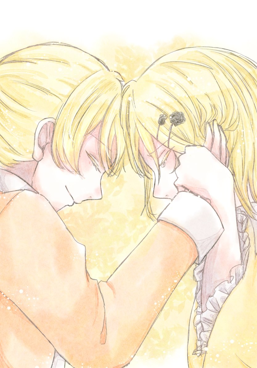 1boy 1girl aku_no_meshitsukai_(vocaloid) aku_no_musume_(vocaloid) allen_avadonia blonde_hair brother_and_sister closed_eyes colored_eyelashes comforting consoling evillious_nendaiki forehead-to-forehead frilled_sleeves frills hair_ornament hairclip hand_grab hand_on_another's_cheek hand_on_another's_face jacket kagamine_len kagamine_rin kiraru_rarirari orange_jacket riliane_lucifen_d'autriche siblings twins wide_sleeves wrist_grab