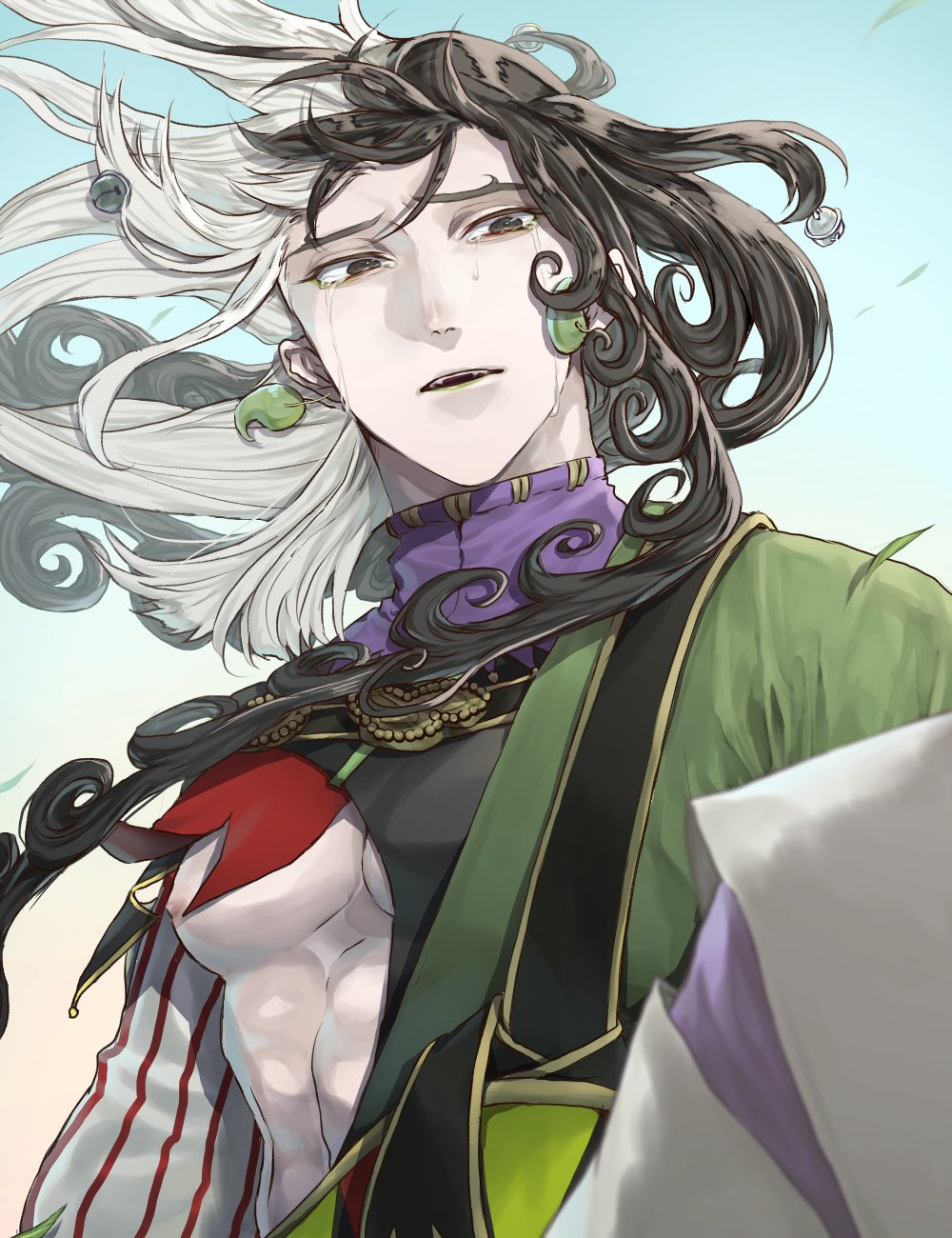 1boy akamarutm ashiya_douman_(fate) asymmetrical_clothes asymmetrical_hair bell black_eyes black_hair commentary_request crying crying_with_eyes_open curly_hair earrings eyeshadow fate/grand_order fate_(series) floating_hair green_eyeshadow green_kimono green_lips hadanugi_dousa hair_bell hair_ornament highres japanese_clothes jewelry jingle_bell kimono long_hair magatama magatama_earrings makeup male_focus mixed-language_commentary multicolored_hair nipples open_clothes open_kimono pale_skin pectorals solo striped tears two-tone_hair vertical_stripes white_hair