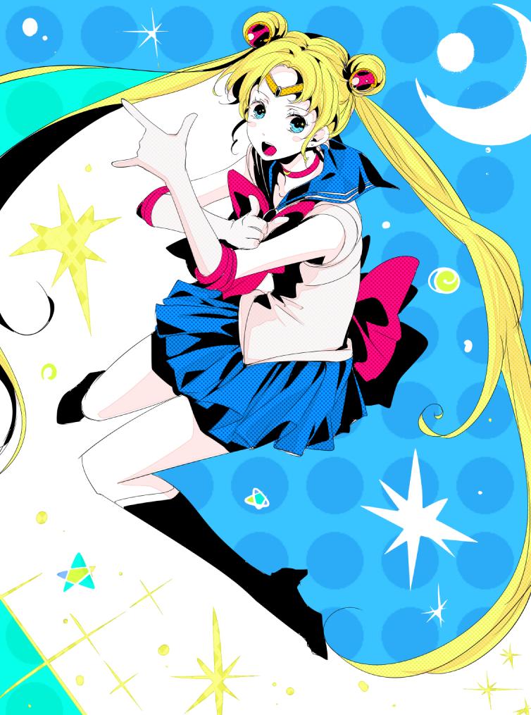 1girl bangs bishoujo_senshi_sailor_moon black_footwear blonde_hair blue_eyes blue_sailor_collar blue_skirt boots bow choker commentary_request crescent double_bun elbow_gloves full_body gloves hair_ornament long_hair looking_at_viewer magical_girl norapeko open_mouth red_bow red_choker sailor_collar sailor_moon sailor_senshi_uniform skirt solo tsuki_ni_kawatte_oshioki_yo tsukino_usagi twintails white_gloves