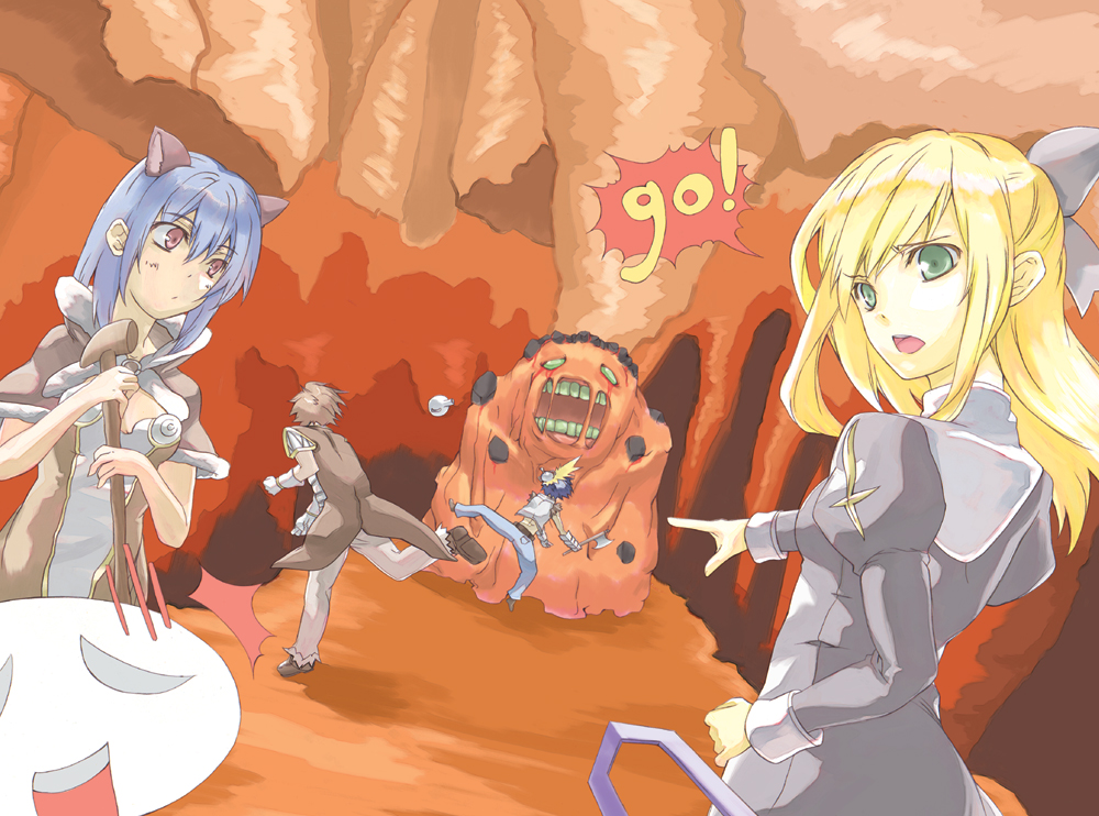 2boys 2girls animal_ears armor axe bangs belt black_dress black_gloves blonde_hair blue_hair blue_pants blush bow breastplate breasts brown_belt brown_cape brown_dress brown_footwear brown_hair cape capelet cat_ears cave choukichi closed_mouth commentary_request creator_(ragnarok_online) crop_top dress dutch_angle emoticon extra_ears eyebrows_visible_through_hair failure fingerless_gloves full_body fur-trimmed_capelet fur-trimmed_pants fur_trim gauntlets gloves golem green_eyes grey_bow hair_between_eyes hair_bow high_wizard_(ragnarok_online) holding holding_axe holding_staff juliet_sleeves lava_golem_(ragnarok_online) living_clothes long_sleeves looking_at_viewer medium_breasts medium_hair molten_rock monster multiple_boys multiple_girls open_mouth pants pink_eyes pointing potion priest_(ragnarok_online) puffy_sleeves ragnarok_online shirt shoes short_hair staff stalactite strapless strapless_dress teeth throwing torn_clothes torn_shirt two-tone_dress white_dress white_gloves white_shirt whitesmith_(ragnarok_online)