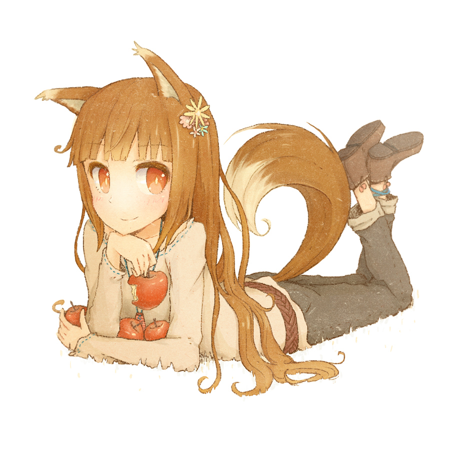 1girl animal_ears ankleband apple awakumo bangs beige_shirt belt bitten_apple black_pants blue_ribbon blunt_bangs bright_pupils brown_belt brown_footwear brown_hair brown_tail closed_mouth collarbone commentary_request disconnected_mouth eyebrows_visible_through_hair flower food fruit full_body hair_flower hair_ornament holding holding_food holding_fruit holo long_hair long_sleeves looking_at_viewer lying multicolored multicolored_tail on_stomach pants pouch red_eyes ribbon ribbon-trimmed_collar ribbon_trim shoes simple_background slit_pupils smile solo spice_and_wolf tail white_background white_tail wolf_ears wolf_tail
