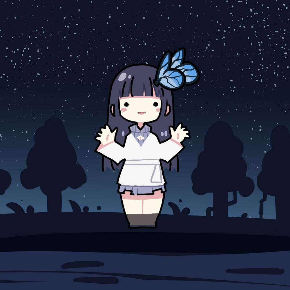 ._. 1girl aoi_nabi black_hair blush_stickers bow bow_earrings butterfly_hair_ornament chibi dress earrings grey_sweater hair_ornament hairclip hand_up indie_virtual_youtuber jacket jewelry long_hair meme_attire open-chest_sweater open_mouth ribbon_earrings sky smile solo star_(sky) starry_sky sweater takeru_(hashiru11275) tree virtual_youtuber