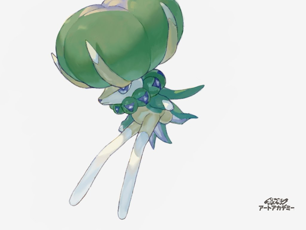 calyrex closed_mouth colored_skin commentary_request copyright_name gen_8_pokemon grey_eyes hunched_over legendary_pokemon muginoomoti no_humans pokemon pokemon_(creature) simple_background solo translation_request white_background white_skin